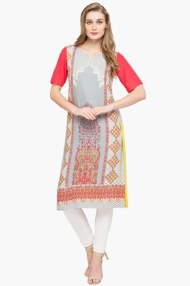 IMARA Womens Round Neck Printed Kurta And Churidar Set