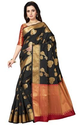 ISHINWomens Gold Woven Saree With Blouse Piece - 204668366_9212