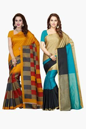 ISHINWomens Bhagalpuri Art Silk Printed Saree - Set Of 2