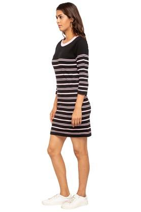 Womens Round Neck Striped T-Shirt Dress