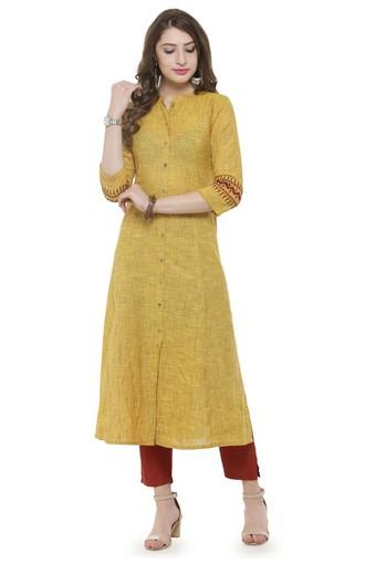 Women solid a-line Kurta with pants
