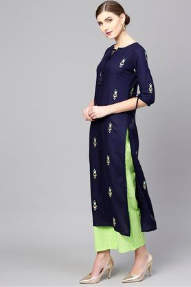 Womens Tie Up Neck Embroidered Kurta and Palazzo Set