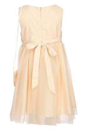 Girls Round Neck Assorted Layered Dress with Sling Bag