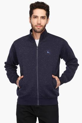 PARXMens Zip Through Neck Printed Sweatshirt