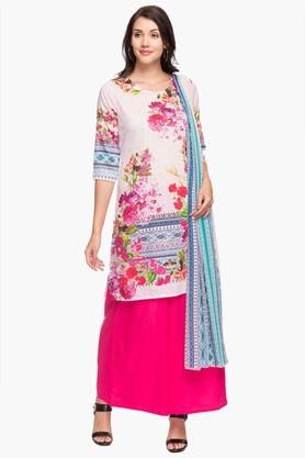 KASHISH Womens Round Neck Printed Kurta Palazzo Dupatta Set