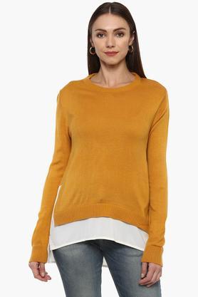 RHESONWomens Round Neck Solid Sweater