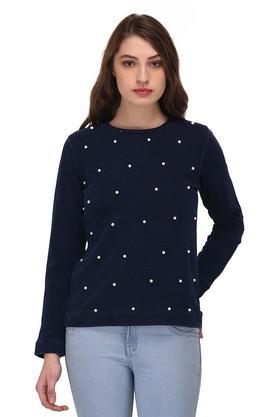 PURYSWomens Round Neck Solid Embellished Sweatshirt
