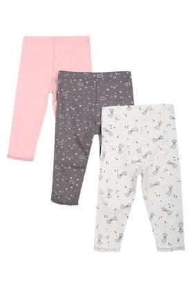 Girls Printed and Solid Leggings - Pack Of 3