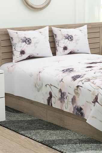 English Home Floral Print Double Bed Sheet with 2 Pillow Covers
