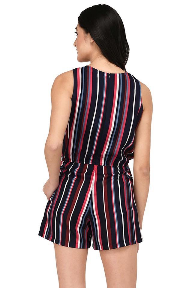 Womens Round Neck Stripe Jumpsuit