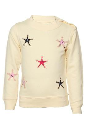Girls Round Neck Embroidered Sweatshirt