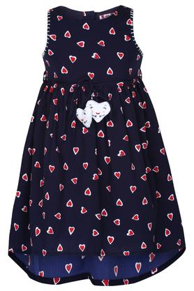 Girls Round Neck Printed A-Line Dress with Briefs