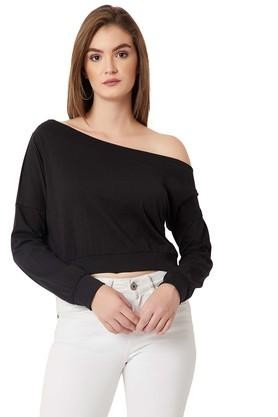 MISS CHASEWomens One Shoulder Neck Solid Sweatshirt