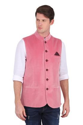 Mens Mandarin Collar Solid Nehru Jacket