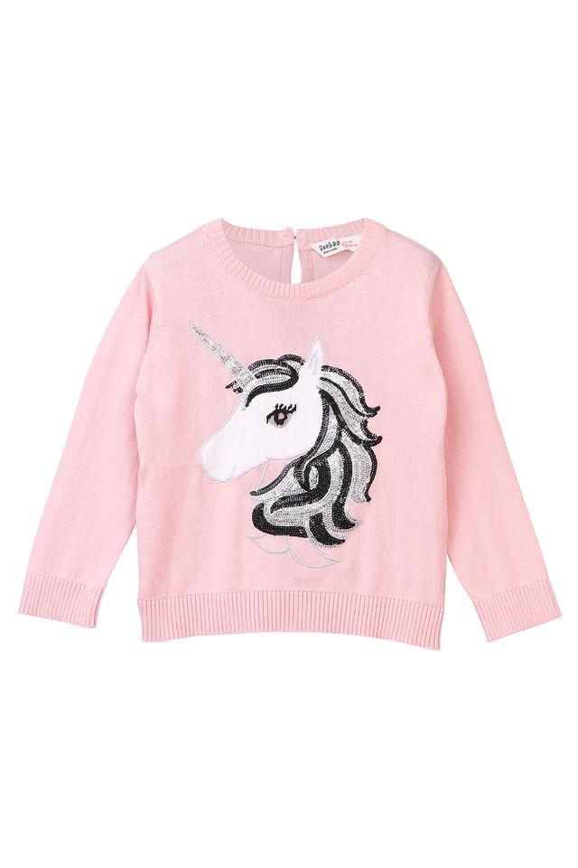 Girls Round Neck Sequined Sweater