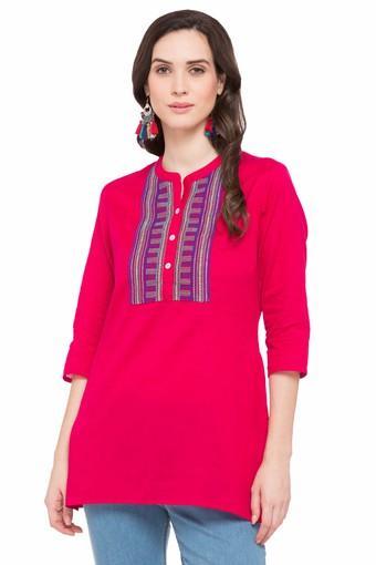 Womens Mandarin Neck Embroidered Tunic