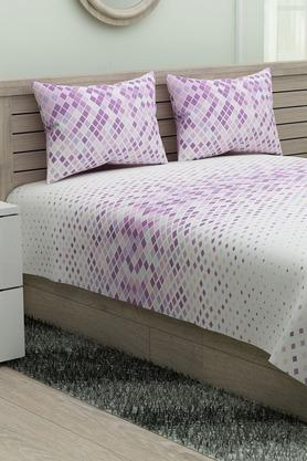 SPACES Printed Modern Lines Single Bedsheet With Pillow Cover - 204824865_9900