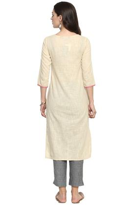 Womens Round Neck Striped Kurta
