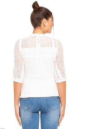 Womens Band Neck Solid Lace Yoke Top