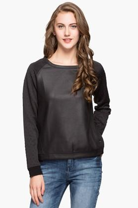 ELLE Womens Round Neck Solid Sweatshirt - 203004530