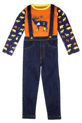 Boys Round Neck Rinse Wash Dungarees and Printed Tee