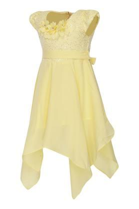 Girls Round Neck Assorted Asymmetric Dress with Belt