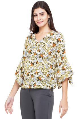Womens V-Neck Printed Top