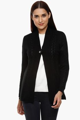 APSLEYWomens Open Neck Knitted Pattern Cardigan - 204730531_9212