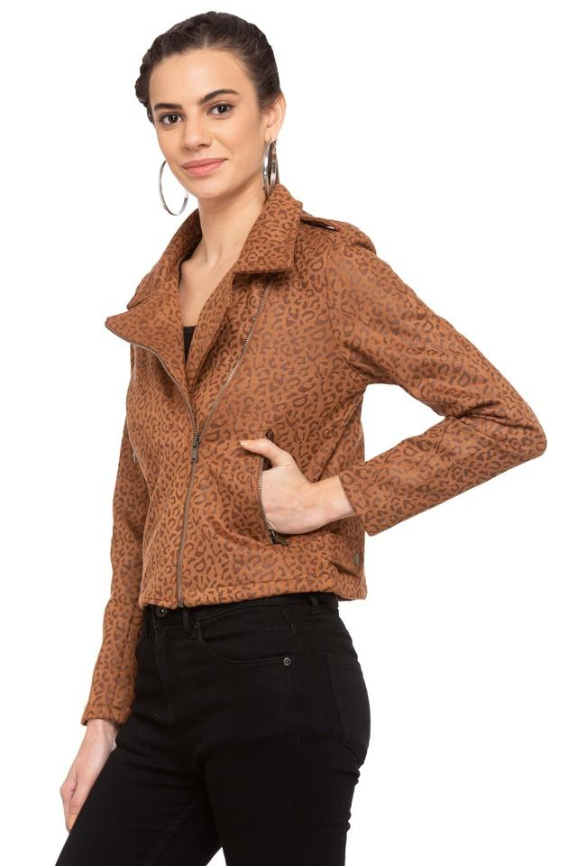 Womens Notched Lapel Printed Jacket