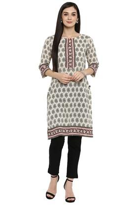 JUNIPER Womens Cotton Flex Ethnic Print Straight Kurta