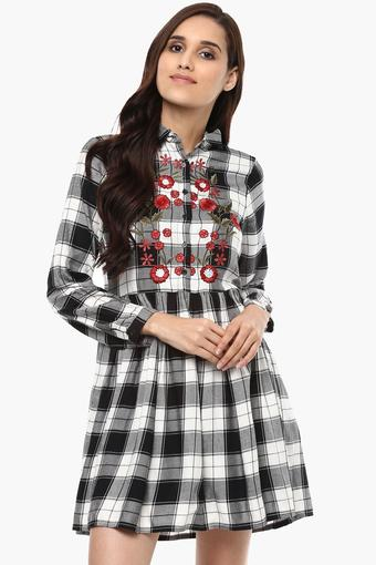 Womens Embroidered Casual Skater Dress