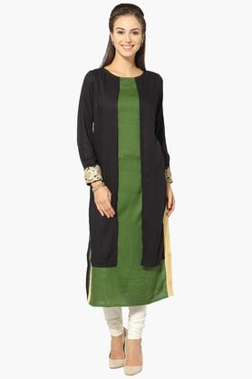 JASHN Womens Round Neck Colour Block Kurta - 203166786