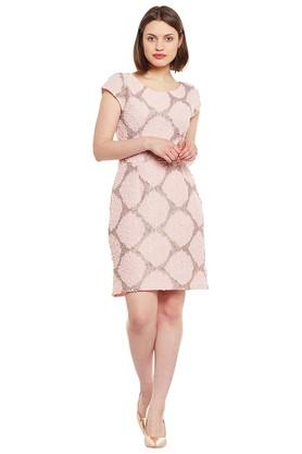 Womens Round Neck Printed Short Dress