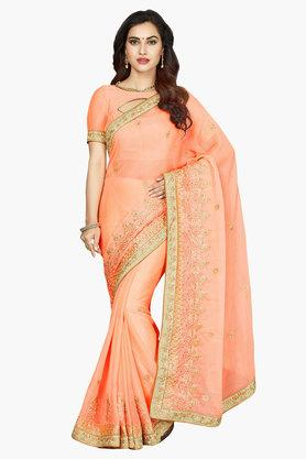 DEMARCA Women Faux Chiffon Embroidered Saree