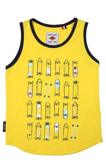 Boys Round Neck Printed Sando