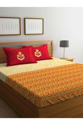 PORTICO Printed Double Bed Sheet With Pillow Cover - 203990093_9900