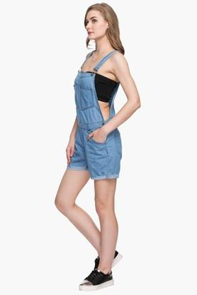 Womens Square Neck Rinse Wash Dungarees