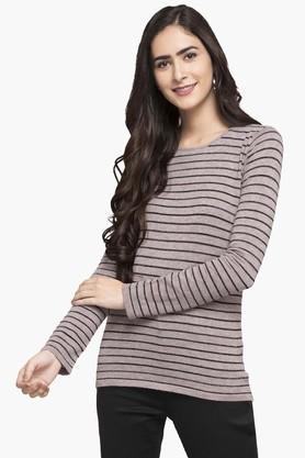 FEMINA FLAUNTWomens Round Neck Stripe Sweater - 203457917_9663