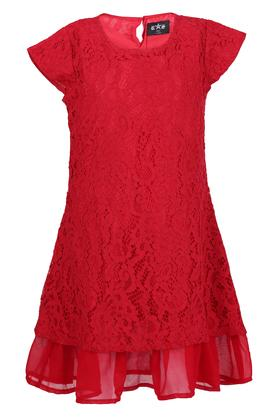 Girls Round Neck Lace A-Line Dress