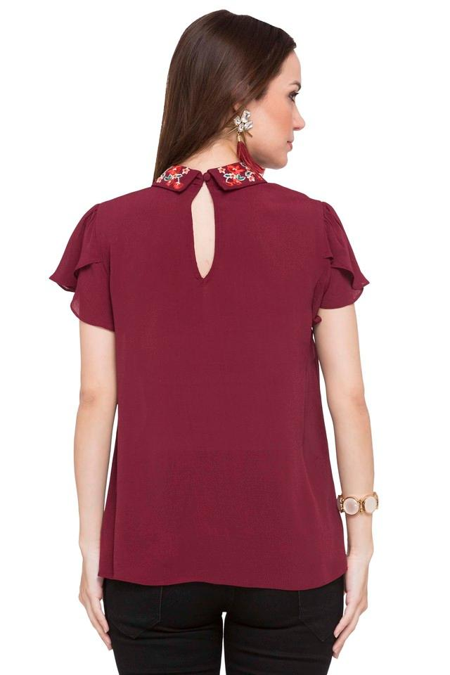 Womens Embellished Collar Solid Top