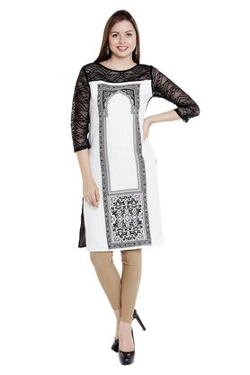 FUSION BEATS Womens Round Neck Printed Kurta - 203113347