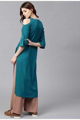 Women Crepe Solid Straight Kurta