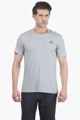 ALCIS Mens Slim Fit Round Neck Solid T-Shirt - 203098767