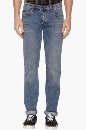 CALVIN KLEIN JEANSMens 5 Pocket Regular Fit Stone Wash Jeans