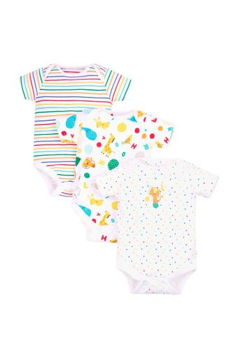 Kids Envelope Neck Printed and Striped Babysuits - Pack Of 3