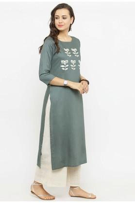 Women Rayon Embroidered Straight Kurta
