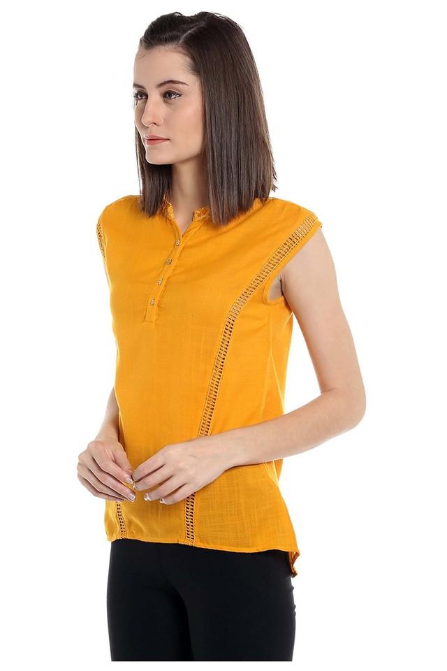 Womens Mandarin Neck Slub Top