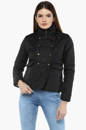 IRIS Womens High Neck Solid Jacket
