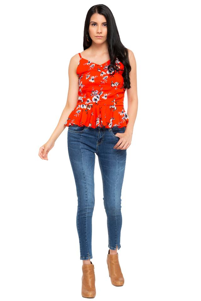 Womens Strappy Neck Floral Printed Peplum Top