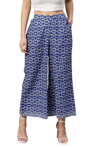 Womens 2 Pocket Printed Palazzos